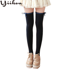 Female autumn and winter sweet cute wave lace stockings women ribbon bow fashion girls knee high cotton stocking