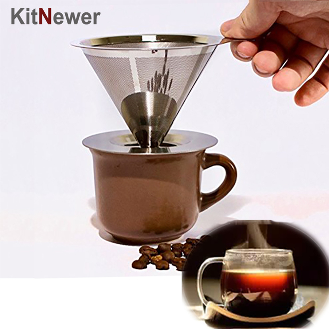 Stainless Steel Pour Over Cone Coffee Dripper Double Layer Mesh