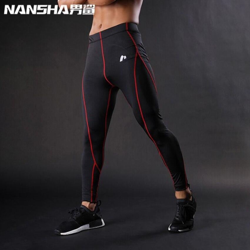 NANSHA Men Compression Pants Spliced Skinny Leggings Tights Line pants Fitness Joggers Elastic Bodybuilding Sweatpants Trousers