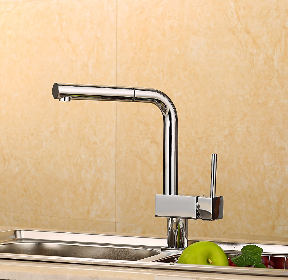 Hot Sale Fashion Creative Pull Out Kitchen Faucet/ Brass Material Modern Chrome  Design Hot And Cold Wash Basin Sink Mixer Tap free shipping new arrivals kitchen faucet brass chrome double use hot and cold kitchen sink faucet with direct drink faucet