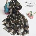 Para mujer mujeres pañuelos de seda Foulard Femme Lettre Marque 100% pura seda largo de la bufanda del verano verde del ejército de impresión chales y hijabs