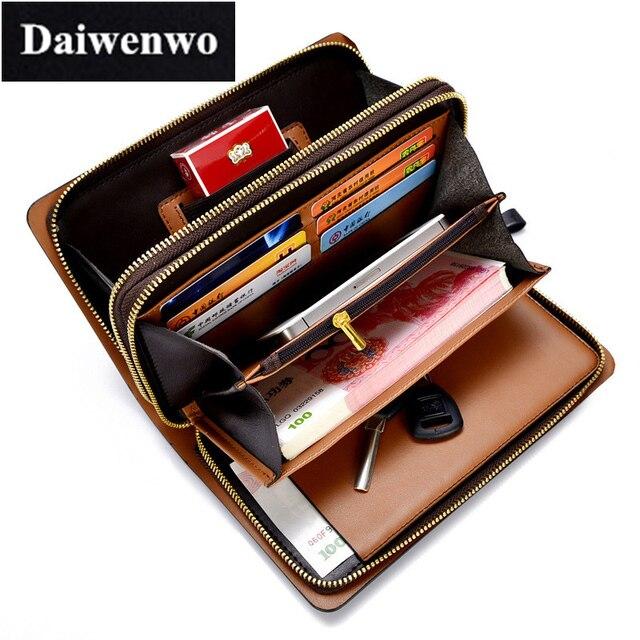 M14 Brand Designer Long Business Man Wallet Double Zippers Men S Genuine Leather Clutch Bag Male Purse