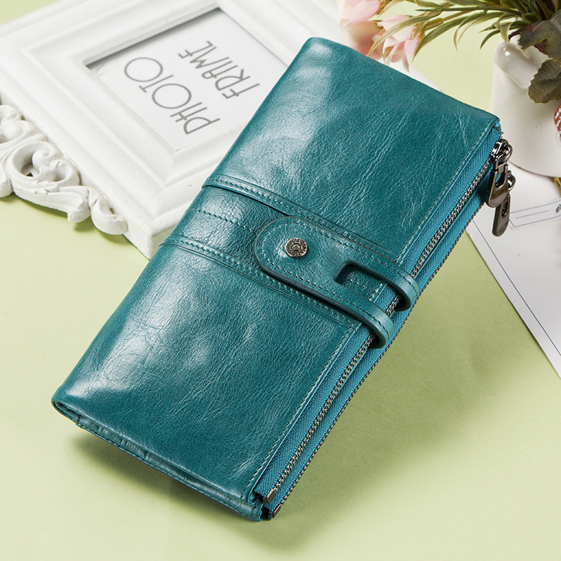 Contact's Genuine Leather Women Wallet Female Coin Purse Long Walet Zipper cartera mujer Phone Pocket Money Bag Lady Card Holder