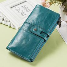 Contact's Genuine Leather Women Wallet Female Coin Purse Long Walet Zipper cartera mujer Phone Pocket Money Bag Lady Card Holder(China)