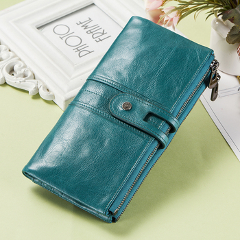 Contact's Genuine Leather Women Wallet Female Coin Purse Long Walet Zipper cartera mujer Phone Pocket Money Bag Lady Card Holder yicheng genuine leather women wallet female coin purse walet portomonee clutch money bag lady handy card holder long for girls