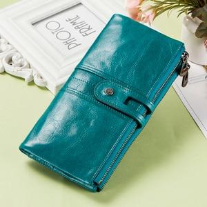 Image 1 - Kontakt z prawdziwej skóry kobiet portfel kobiet monety kiesy długi Walet Zipper cartera mujer etui na telefon portfel damski portfel na karty