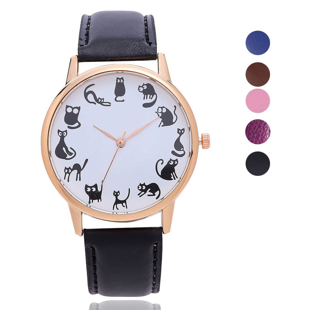 Fashion Women Quartz Watch Black Cats Pattern Cute Watches PU Leather Band Women's Wristwatch Gifts