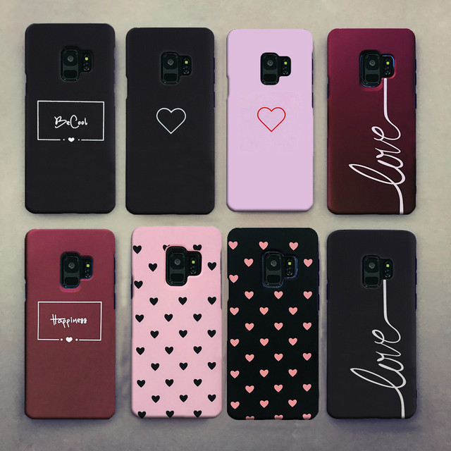 Cute Clear Couples Love Heart Black Pink Red Case For Samsung Galaxy S8 S9 Plus S8Plus S9Plus Case Cover Hard PC Girl Men Case
