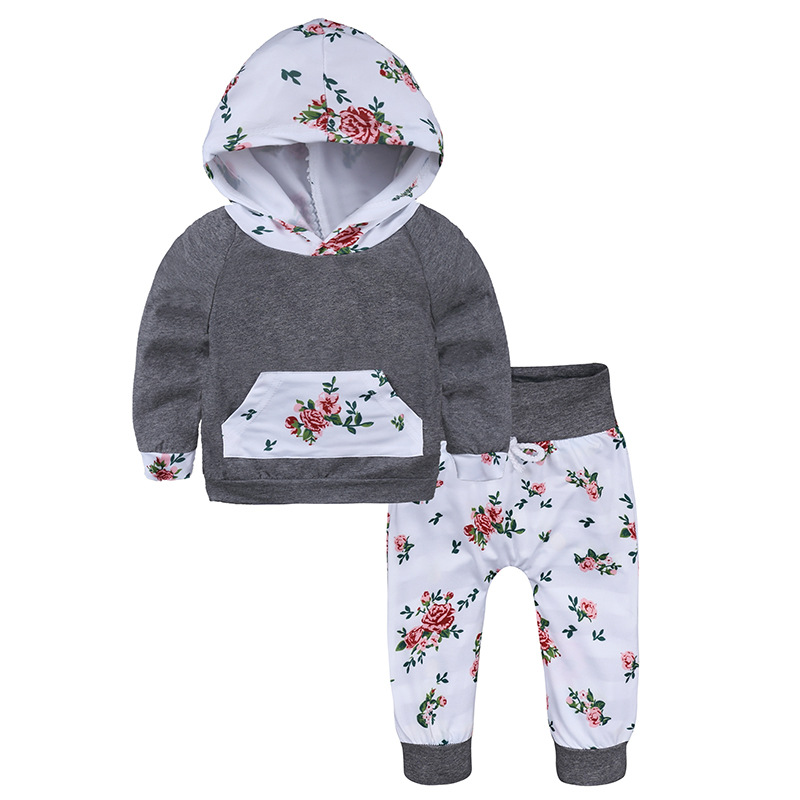 2018 Cute Floral Baby Girl Clothes Autumn Infant Bebes Hooded Sweatshirt Top+ Pant 2pcs Outfit Bebek Giyim Clothing Set