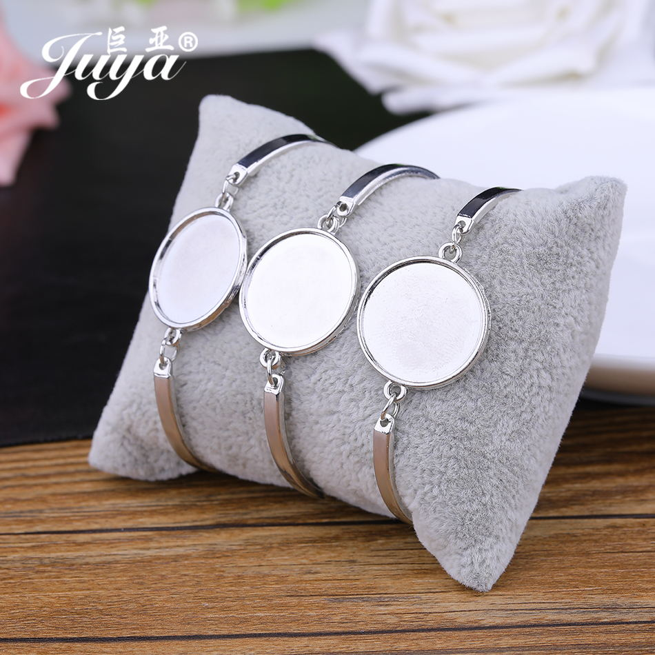 JUYA Bangle Settings Bracelets DIY Making Accessories 4pcs/lot 20mm Round Blank Cabochon Bracelet Base Trays AD0210