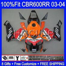Литые изделия для Honda Repsol Orange CBR600 RR CBR 600RR 600F5 03 04 63HM23 CBR600F5 CBR600RR F5 03 04 CBR 600 RR 2003 2004 обтекатель