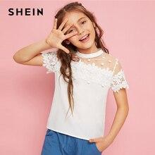 SHEIN Kiddie/Милая однотонная блузка с воротником-стойкой и оборкой для девочек детская одежда г., летний рукав-волан, топы с оборками на пуговицах сзади