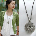 x101 2016 collares Fashion New Vintage Style Flower Crystal Women Black Silver Necklace Long Chain bijoux Gift