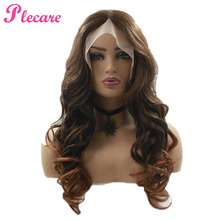Plecare Synthetic Wig Pruiken Full Lace Front Lang Wavy Hair 26inches Brown Ombre Synthetische Kant Wigs