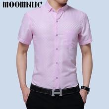 Клетчатые рубашки, модные, без глажки, деловые рубашки в повседневном стиле, простые,, подходят, MWC, короткий рукав, MOOWNUC, летние мужские, большие размеры, тонкие, новые