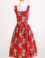 Fast shipping red print rose dress cotton&linen vintage style women wholesale clothing summer dress elegant dress revival party