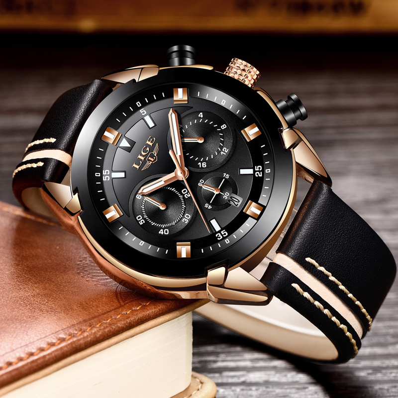 Luxury Quartz Chronograph Shockproof Watch Leather Band 1