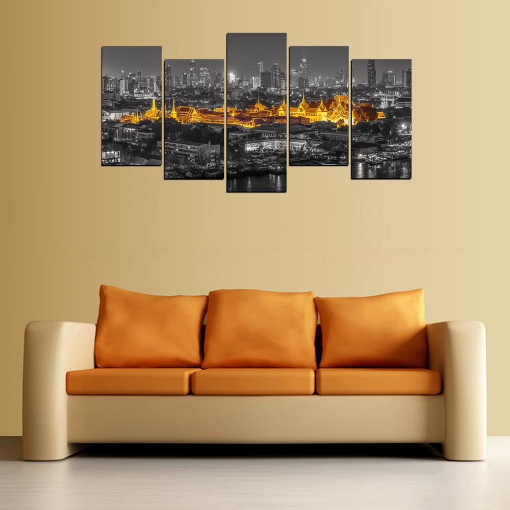 Original Oil Ink Canvas Print Thailand Golden Temple Painting On ...