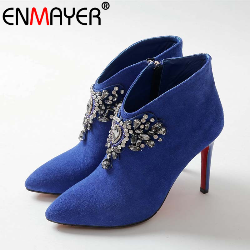ФОТО ENMAYER Zippers Pointed Toe Thin High Heels Crystal Flock Black Blue Red Flock Women Shoes New Fashion Winter Women Ankle Boots