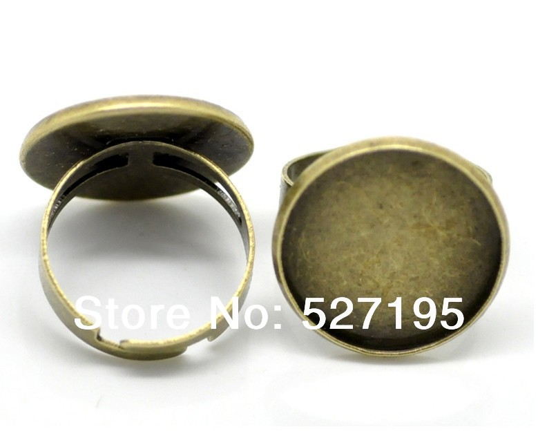 Wholesale Antique Bronze Ring Blank Base with Bezel Setting Tray fit for 20mm Cameo Cabochons