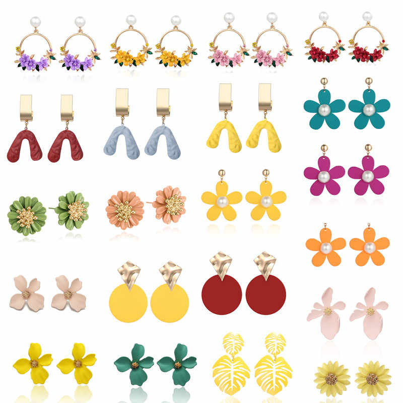 2019 Earring Korean Petal Acrylic Earrings summer beach Earrings for women accessories Wholesale jewelry Flower Earrings