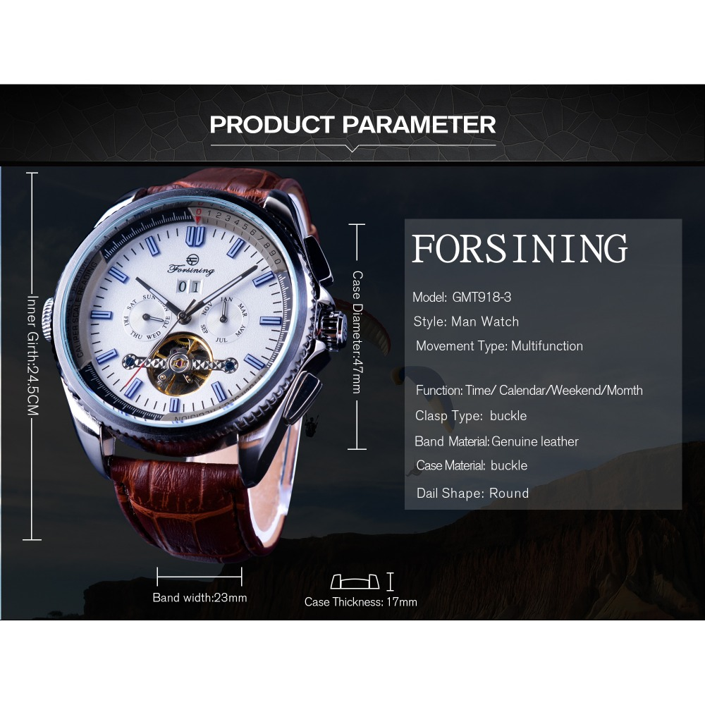 Men's Watches Mechanical Watches Forsining Weaving Tourbillion Design Genuine Leather Calendar Display Mens Mechanical Watches Top Brand Luxury Automatic Clock Online Shop