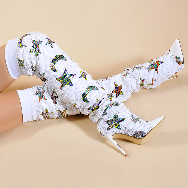 Pink Palms Shoes Women Spring Autumn Shoes Sequined Cloth Over the Knee Boots Women Color Changed Stars Super High Heels Boots