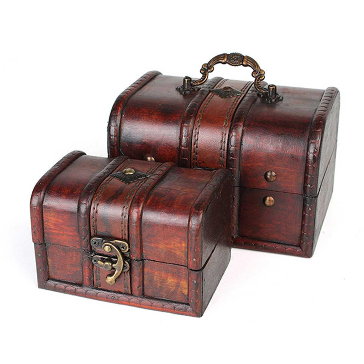 Деревянная шкатулка для ювелирных украшений коробка винтажное ожерелье браслет кольца Органайзер чехол с металлическим замком контейнер маленький большой размер