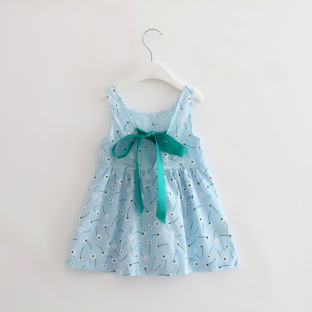 2-7y Summer Children Girl Berry Cotton Dress Back V