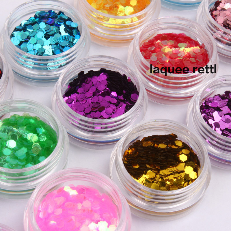 12 colors nail art hexagonal decoration Sparkly Sequin uv gel glitter nail tools design