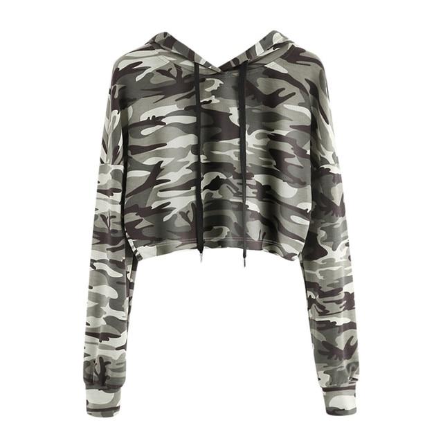 Fashion Women Sweatshirt Camouflage Hoodies Solid Crop Hoodie Long Sleeve Jumper Hooded Pullover Coat Casual Sweatshirt Top