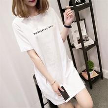 White Long T-shirt Women Summer TOPS harajuku kawaii Tee shirt aesthetic Short Sleeve Letter O-neck Vogue modis Korean Style