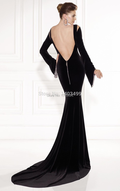 2014 Astonishing Bell Shaped Long Sleeve Evening Dress Mermaid Velvet  Plunging V Neck Long Prom Party Gowns Vestido De Formatura-in Wedding  Dresses from ... 1b50b6da4ba3