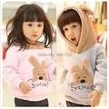 2015 new Autumn and winter style Wholesale and retail hooded fleece jacket outfit fleece rabbit wool unlined upper garment girls