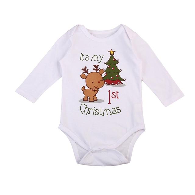 新生児ボディスーツ幼児少女少年子供長袖綿の衣装の服クリスマス私の最初のクリスマス冬秋 0 -24 メートル