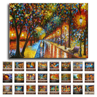 Modern Knife Oil Painting On Canvas Abstract Park Landscape Art Pictures Set Handmade Home Wall Decorative