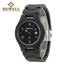 BEWELL Luxury Brand Wood Watch Men Analog Quartz Movement Date Thin Case Male Wristwatches Relogio Masculino With Box 127A