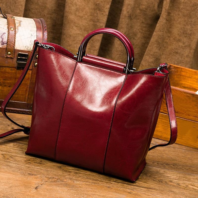 Women Handbag Classic Top Grain Genuine Smooth Calf Leather Top Handle Messenger Shoulder Bag