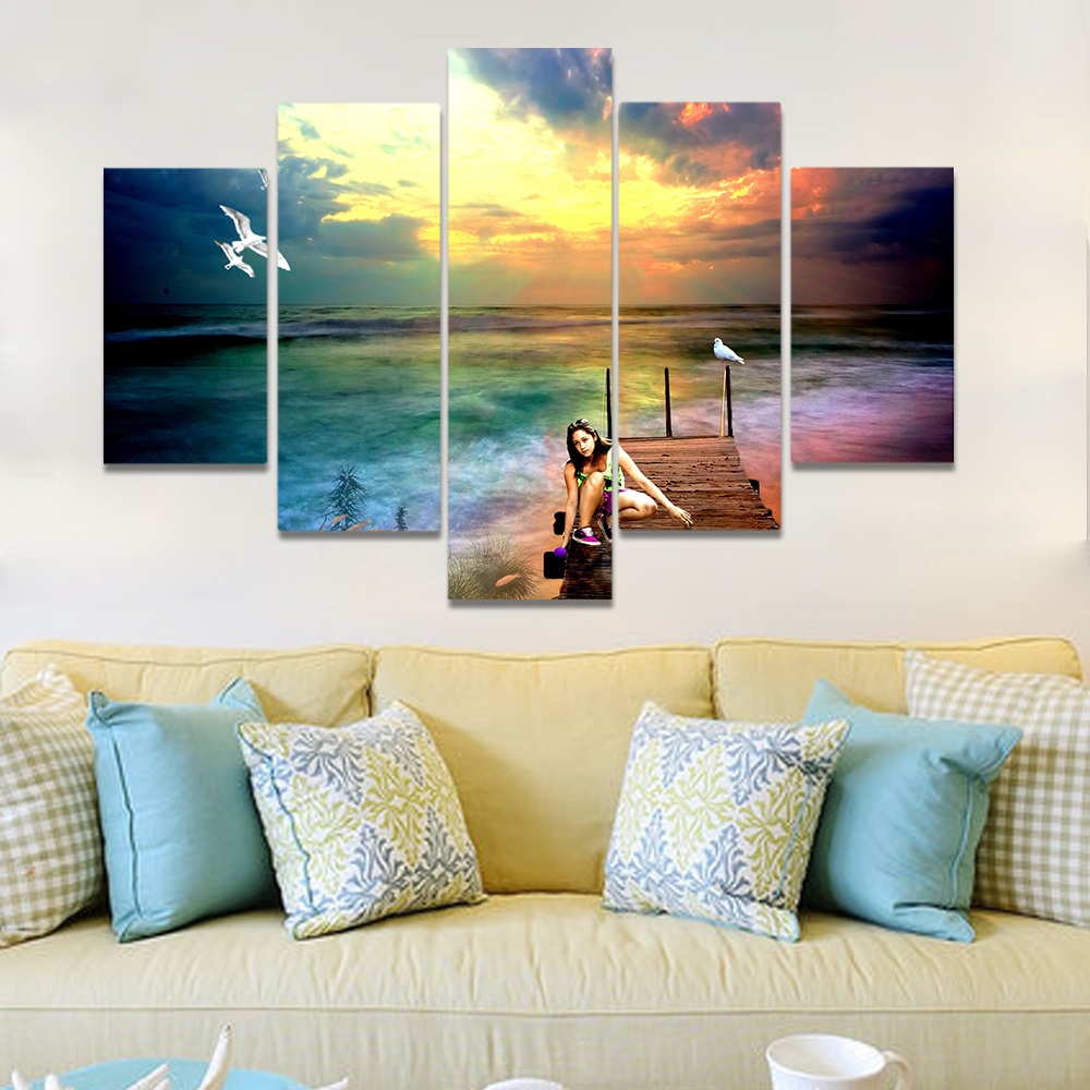 Unframed Canvas Painting Sea Level Boardwalk Playing Water Girl Picture Prints Wall Picture For Living Room Wall Art Decoration