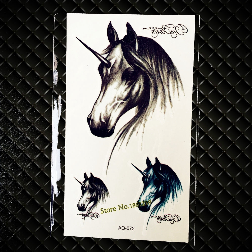 Negro Sketch Pony Unicornio Caballo Pasta de Tatuaje Tatuajes Para Los Hombres M