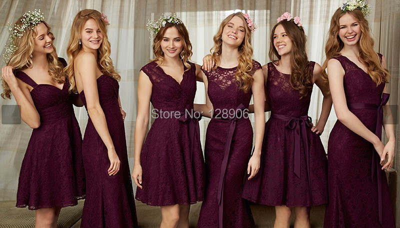 Latest Burgundy Bridesmaid Dresses 2015 Sexy V Neck Lace Party Dress With Belt Mini Wedding Short In From
