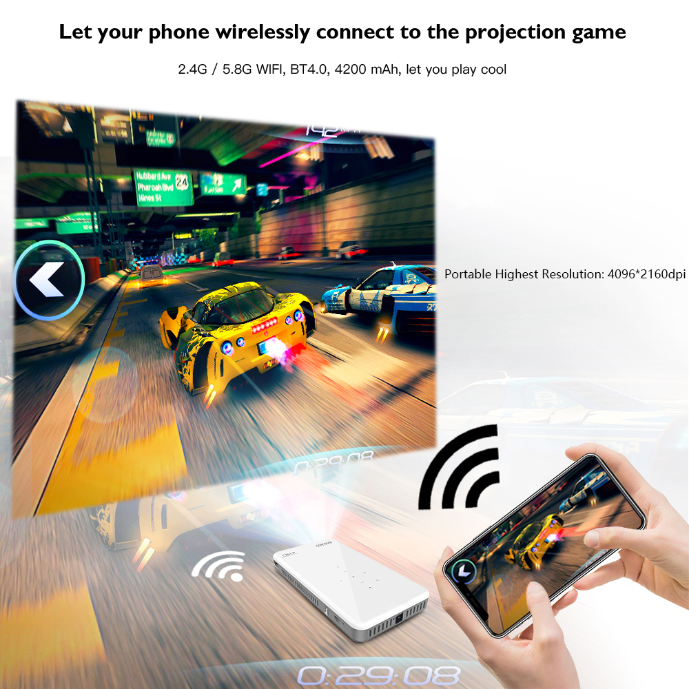 Image 3 - CRENOVA 2019 Newest Mini Projector X2 With Android 7.1OS WIFI Bluetooth (2G+16G), Support 4K Video Portable 3D Projector Beamer-in LCD Projectors from Consumer Electronics