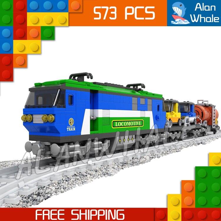 573pcs Train Creator Classical Cargo Trains 25808 Blue Locomotive Model Building Blocks Bricks Railway Toys Compatible With lego walthers model train 90 inch length of the train locomotive wheel suite 33 cm 933 933