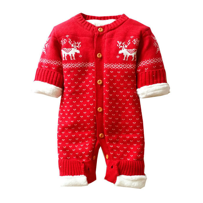Winter Infant Baby Knitted Romper Kids Boys Girls Thick Warm Jumpsuit Newborn Baby Knitted Sweater Children Christmas Outwear boys girls winter sweater kids knitted pullover sweater thicken warm kids cardigan sweater double breasted children outwear 2 5t