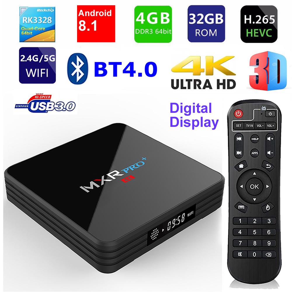 MXR PRO PLUS Android 8 1 4GB RAM 32GB ROM Smart 4K TV Box RK3328 Quad
