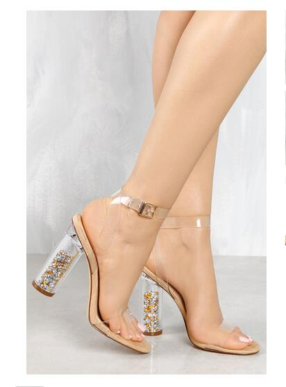 ФОТО LTTL nude sandals women Summer shoes open toe 11cm high rounde tansparent shiny clear heels bling decoration perspex black white