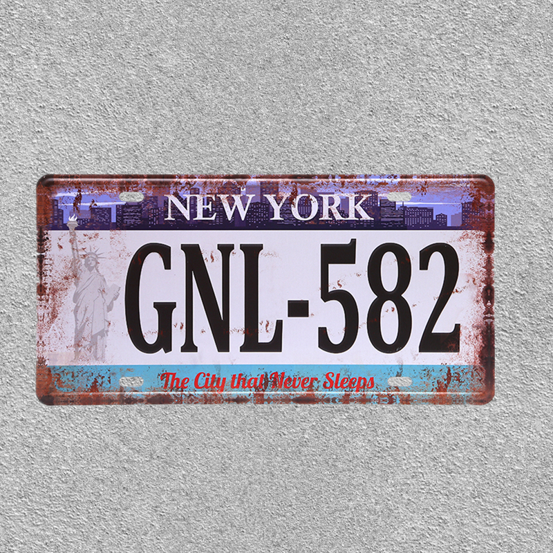 American Vintage Home Decor New York Tin Sign USA Car Plate Nevada Metal License Plaque Oregon California Wall Art Number Poster