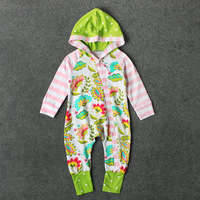 Y01-X052 Newborn Baby Clothes boys girls Infant Long Sleeve autumn Romper Overalls colorful flower cloting with hat 1 pcs