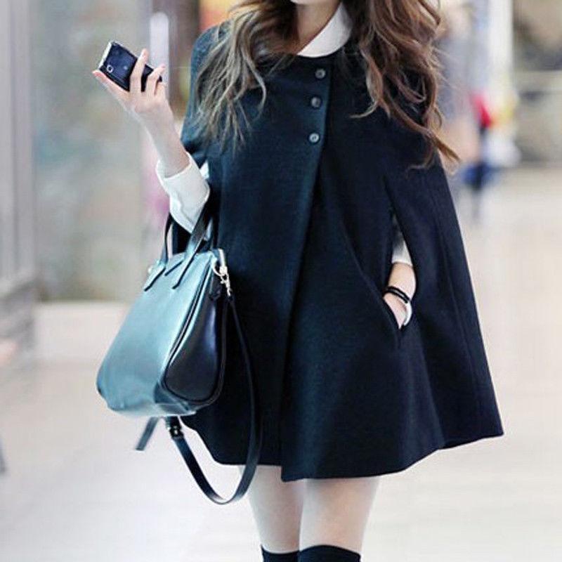 Women Loose Batwing Wool Poncho Winter Warm Coat Jacket Black Cloak Cape 1