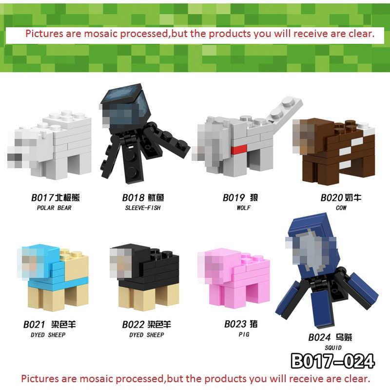 Single sale Minecrafted Action Figures Alex Enderman Steve Ghast Animals Horse Donkey Polar Bear Minecrafted Building Blocks
